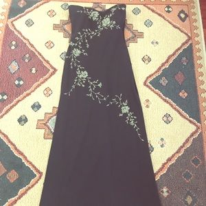 Dresses & Skirts - Black with gold flowers maxi strapless dress